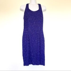 Blue Beaded Silk Sheath Dress Sleeveless SzM $10